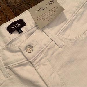 NYJD White Wide Cuff Capri Jeans